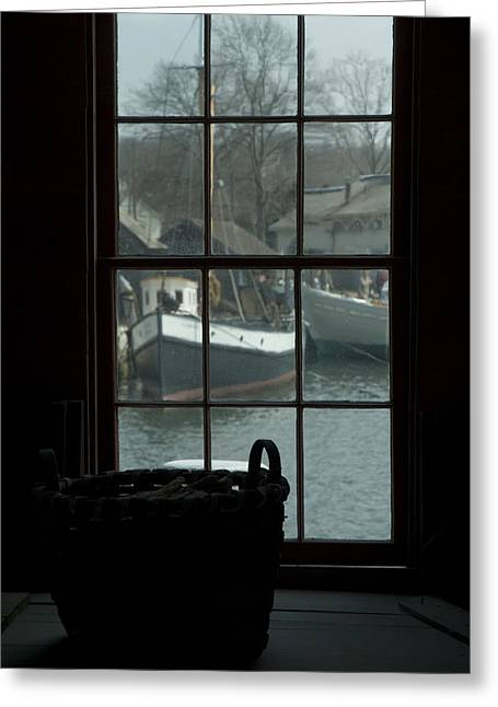 Mystic Greeting Cards - Looking Out Through A Window At Wooden Greeting Card by Todd Gipstein