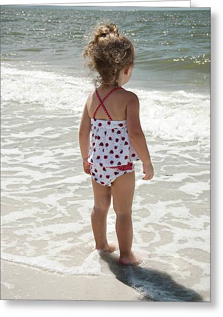 Toddler Girl Greeting Cards - Looking out to Sea Greeting Card by Vicki Jauron