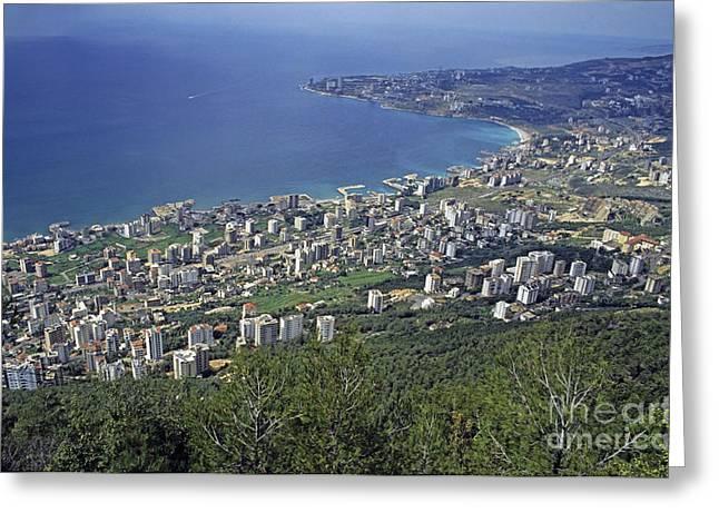 Sami Sarkis Photographs Greeting Cards - Looking over Jounieh Bay from Harissa Greeting Card by Sami Sarkis