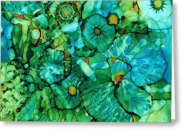 Alcohol Inks Greeting Cards - Looking Through Layers Greeting Card by Christine Crawford