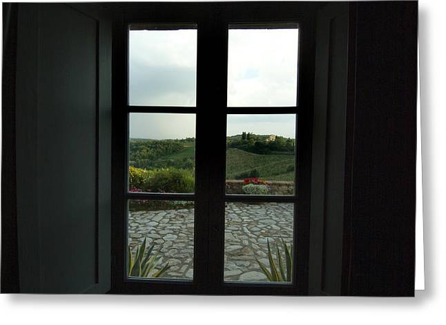 Chianti Hills Greeting Cards - Looking Through The Window Of A Tuscan Greeting Card by Todd Gipstein