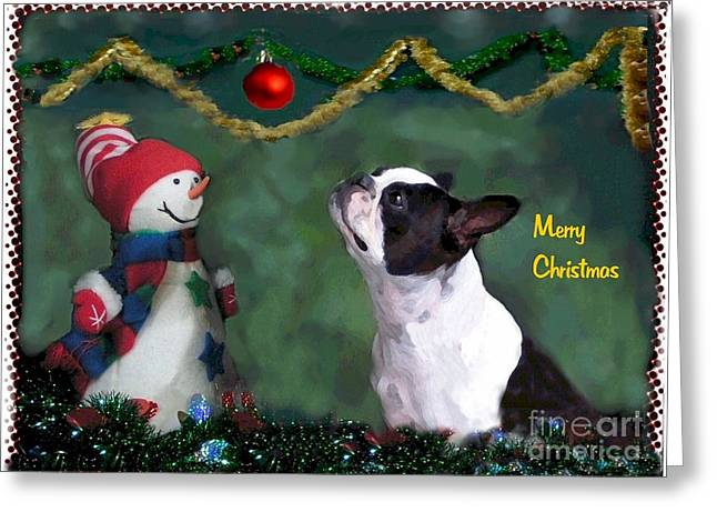 Boston Terrier Greeting Cards Greeting Cards - Looking to the Heavens Greeting Card by Maxine Bochnia