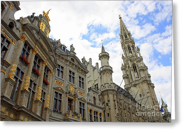 Looking Up At The Grand Place Greeting Card by Carol Groenen