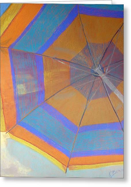 Umbrellas Pastels Greeting Cards - Looking Up Greeting Card by Katherine  Berlin