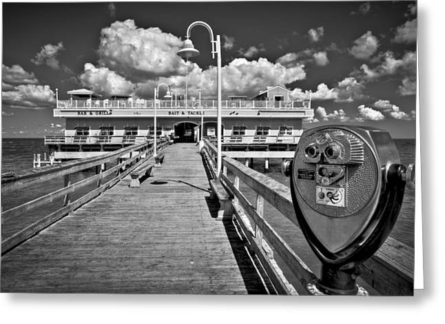 Oceanview Greeting Cards - Lookout at Oceanview Fishing Pier Greeting Card by Williams-Cairns Photography LLC