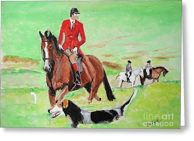 Hunt Paintings Greeting Cards - Lookout Greeting Card by Judy Kay
