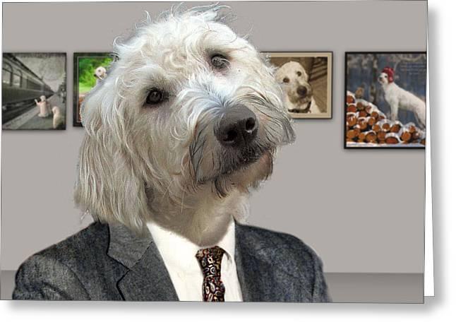Funny Dog Digital Art Greeting Cards - Looks Like Art To Me Greeting Card by Suni Roveto