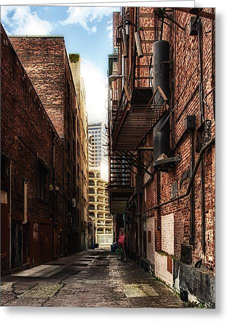 Lady Washington Greeting Cards - Looky Lu Alley Greeting Card by James Heckt
