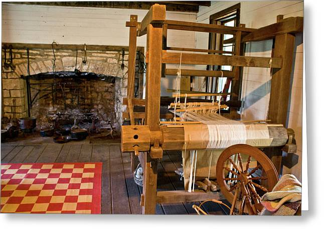 Festivities Greeting Cards - Loom and Fireplace in Settlers Cabin Greeting Card by Douglas Barnett