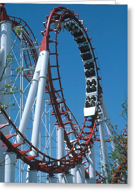 Rollercoaster Photographs Greeting Cards - Loop Section Of A Rollercoaster Ride Greeting Card by Kaj R. Svensson