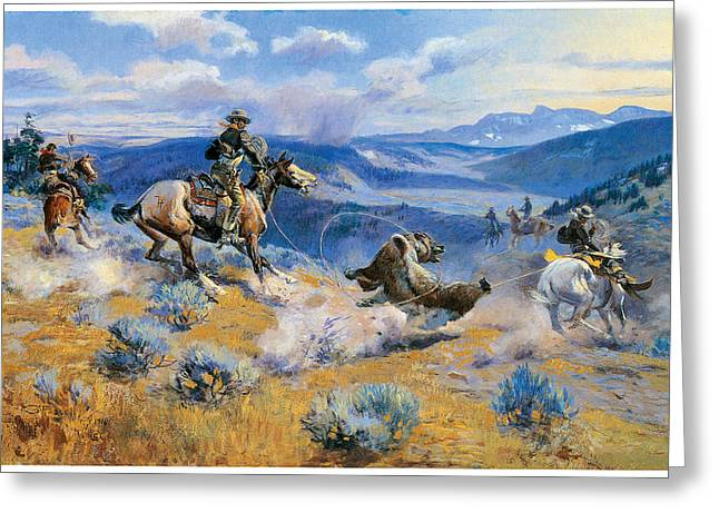 American Cowboy Artist Greeting Cards - Loops and Swift Horses are Suere than Lead Greeting Card by Charles Marion Russell