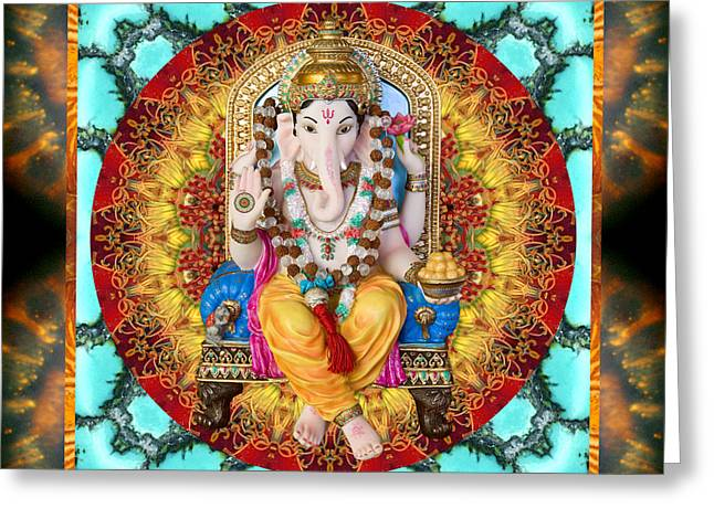 Hindu Art Greeting Cards - Lord Generosity Greeting Card by Bell And Todd