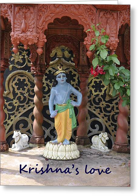 Temple West Greeting Cards - Lord Krishna Greeting Card by Vijay Sharon Govender