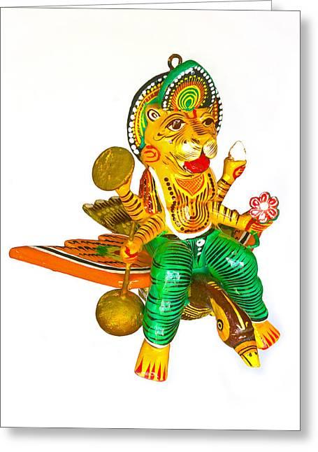 Circle Hook Greeting Cards - Lord Narasimha and Peacock  Greeting Card by Kantilal Patel