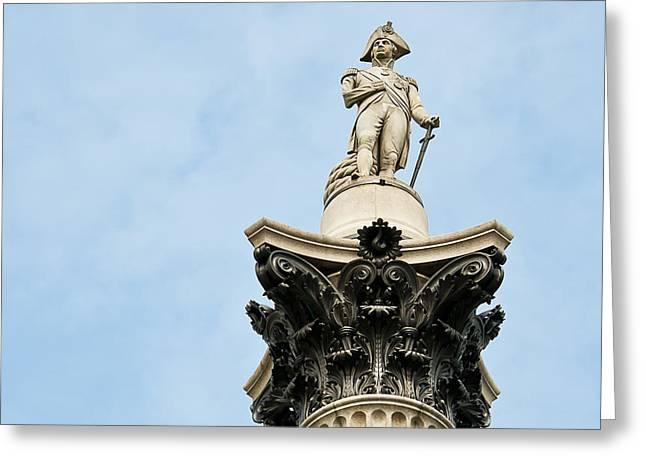 Trafalgar Greeting Cards - Lord Nelsons Column Greeting Card by Bronze Riser