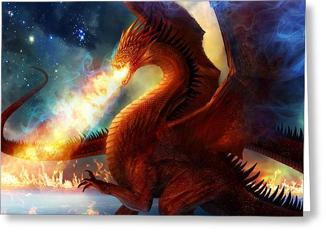 Lord of the Celestial Dragons Greeting Card by Philip Straub