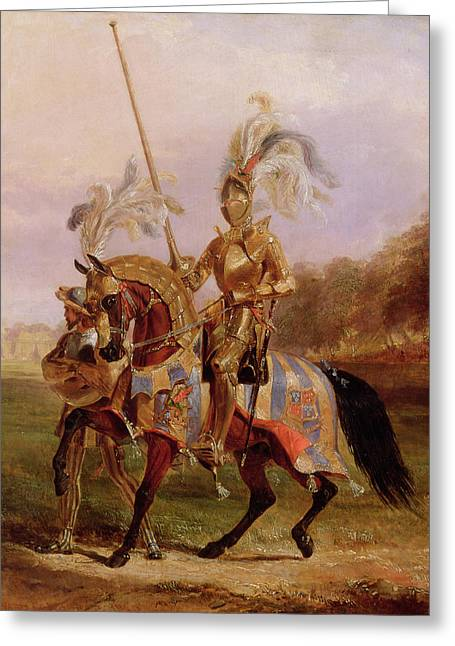 Knight Greeting Cards - Lord of the Tournament Greeting Card by Edward Henry Corbould