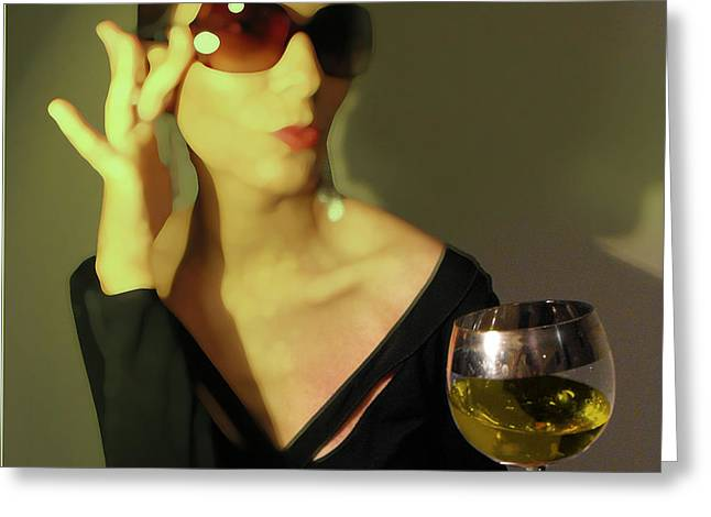 Wine Woman Greeting Cards - Loren Greeting Card by Naxart Studio