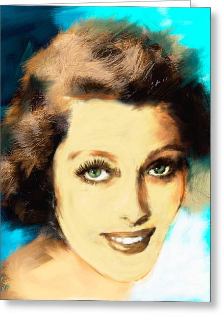 Legend Greeting Cards - Loretta Young Greeting Card by Arne Hansen
