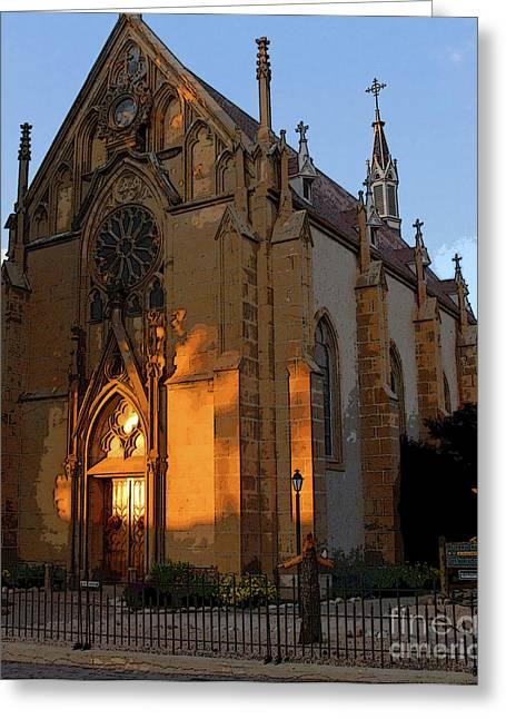 Religious Art Digital Art Greeting Cards - Loretto Chapel 1878 Greeting Card by David Lee Thompson