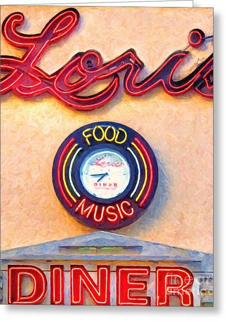 Hamburger Greeting Cards - Loris Diner San Francisco Greeting Card by Wingsdomain Art and Photography