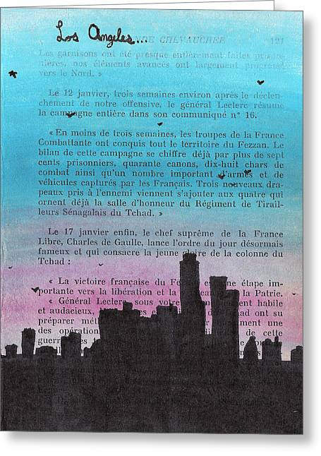 Angel Blues Drawings Greeting Cards - Los Angeles City Skyline Greeting Card by Jera Sky