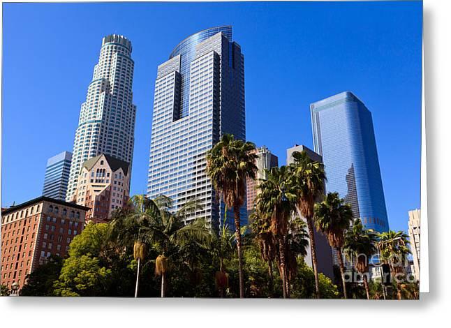 Towering Tree Greeting Cards - Los Angeles Downtown Office Buildings Greeting Card by Paul Velgos