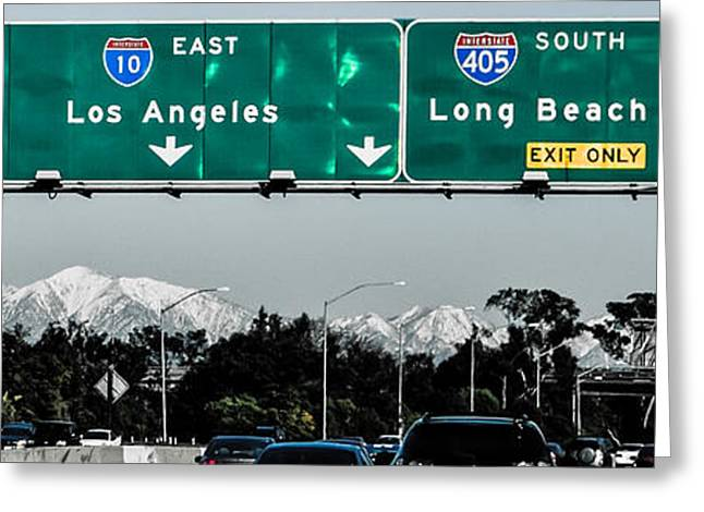 Up201209 Greeting Cards - Los Angeles Freeway One Greeting Card by Josh Whalen