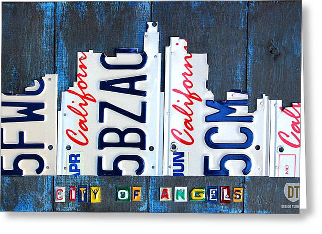 Los Angeles Freeways Greeting Cards - Los Angeles Skyline License Plate Art Greeting Card by Design Turnpike
