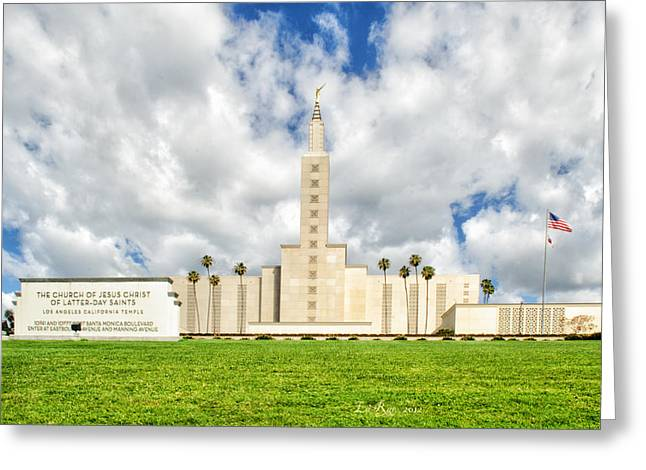 Saint Lo Greeting Cards - Los Angeles Temple Front Greeting Card by La Rae  Roberts