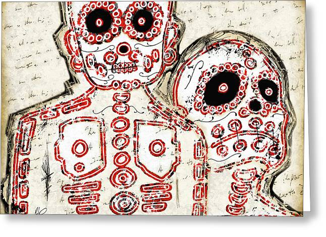 Mexican Drawings Greeting Cards - LOS MUERTOS Fine Art Illustration by Roly O Greeting Card by Roly Orihuela