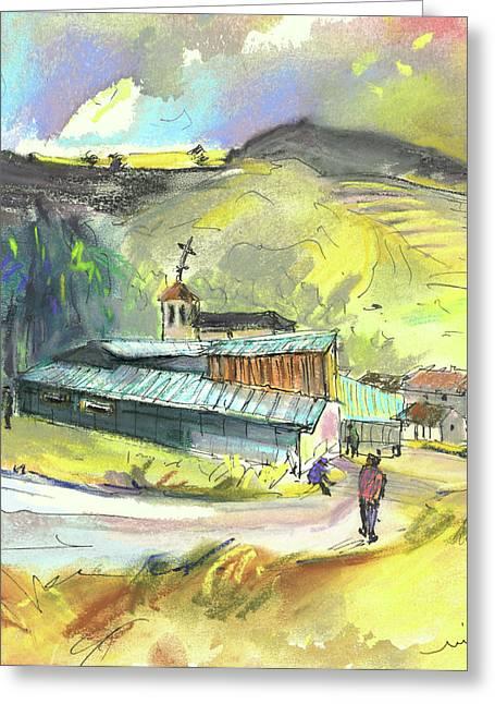 Townscape Drawings Greeting Cards - Los Olmos de Penafiel in Spain 01 Greeting Card by Miki De Goodaboom
