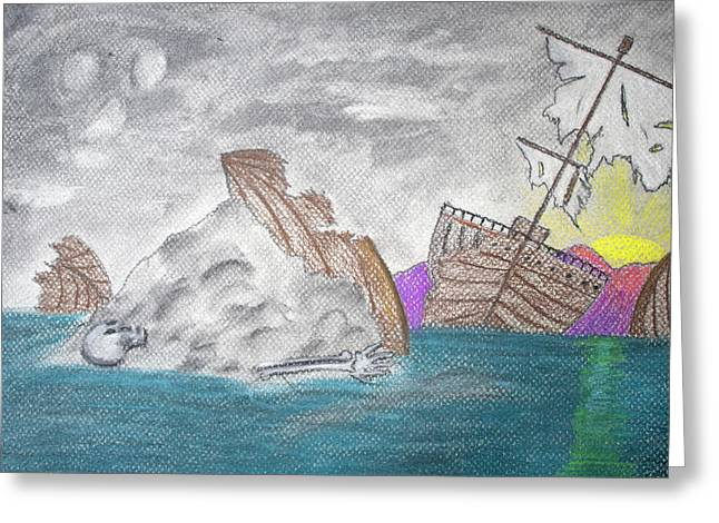 Pastel Art Greeting Cards - Lost Boat Greeting Card by Jose Valeriano
