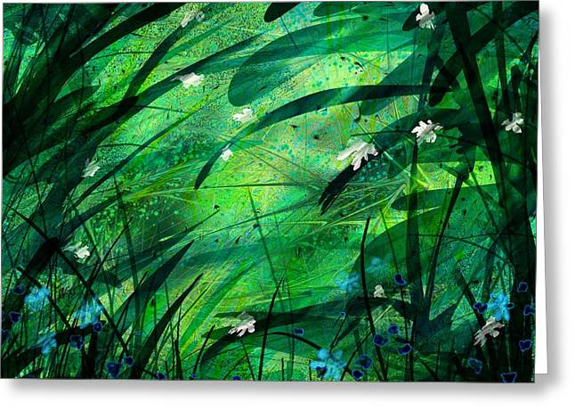 Abstract Rain Greeting Cards - Lost in Paradise Greeting Card by Rachel Christine Nowicki