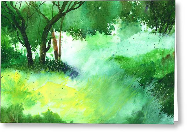Summer Scene Drawings Greeting Cards - Lost in thought Greeting Card by Anil Nene