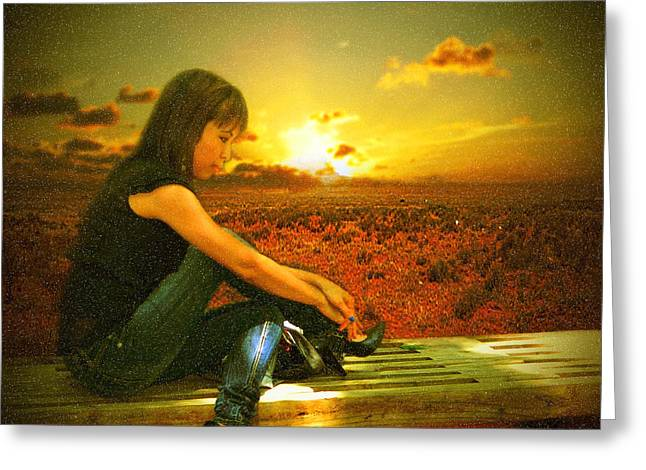 Sunset Framed Prints Greeting Cards - Lost in Thought Greeting Card by Ester  Rogers