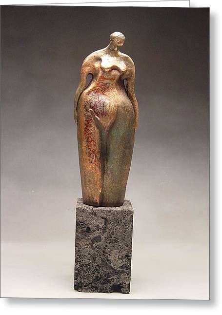 Stoneware Sculptures Greeting Cards - Lost in thought Greeting Card by Judith Birtman