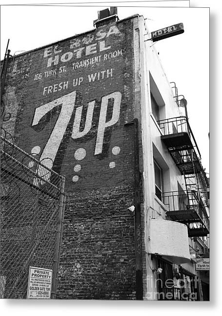 Lost In Urban America - El Rosa Hotel - Tenderloin District - San Francisco California - 5d19351 -bw Greeting Card by Wingsdomain Art and Photography