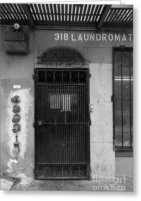 Dilapidated Greeting Cards - Lost In Urban America - Laundromat - Tenderloin District - San Francisco California - 5D19347 - Bw Greeting Card by Wingsdomain Art and Photography