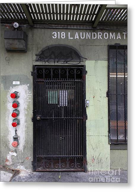 Downtown San Francisco Greeting Cards - Lost In Urban America - Laundromat - Tenderloin District - San Francisco California - 5D19347 Greeting Card by Wingsdomain Art and Photography