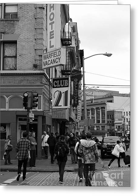 Downtown San Francisco Greeting Cards - Lost In Urban America - Warfield Hotel - Tenderloin District - San Francisco California - 5D19353 bw Greeting Card by Wingsdomain Art and Photography
