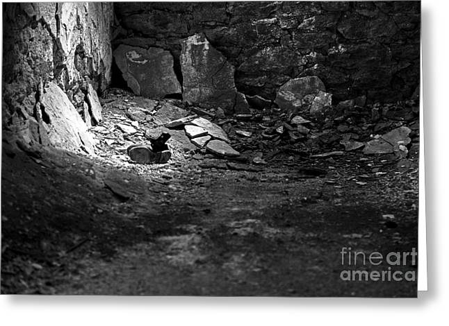 Black Boots Greeting Cards - Lost Shoe - black and white  Greeting Card by Paul Ward