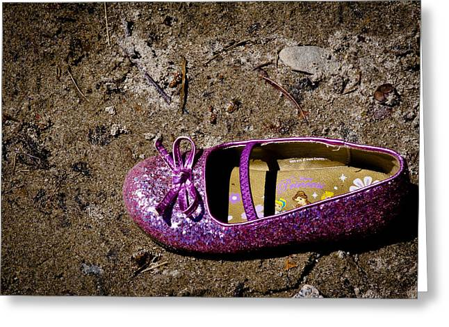 Sparkling Beach Greeting Cards - Lost Shoe in the Sand Greeting Card by David Patterson