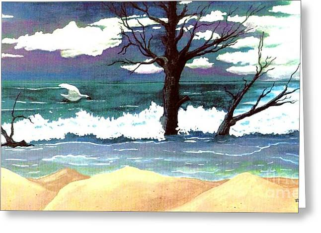Sanddunes Paintings Greeting Cards - Lost Swan Greeting Card by Patricia Griffin Brett