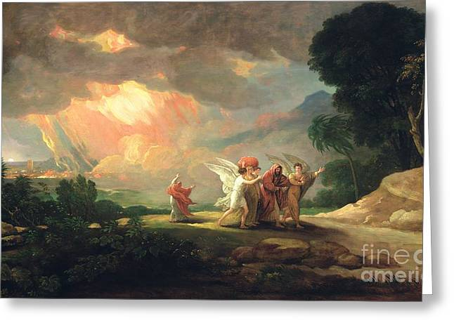 Sinner Greeting Cards - Lot Fleeing from Sodom Greeting Card by Benjamin West