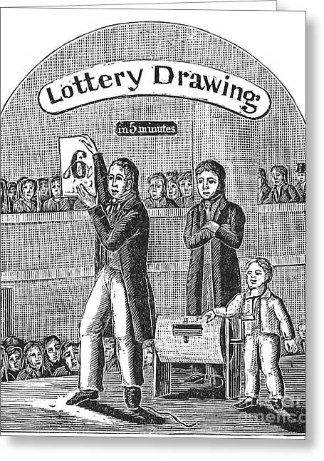 Lottery Greeting Cards - LOTTERY DRAWING, c1835 Greeting Card by Granger
