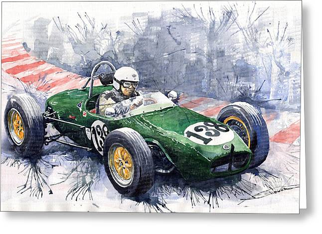 Old Car Greeting Cards - Lotus 18 F2 Greeting Card by Yuriy  Shevchuk