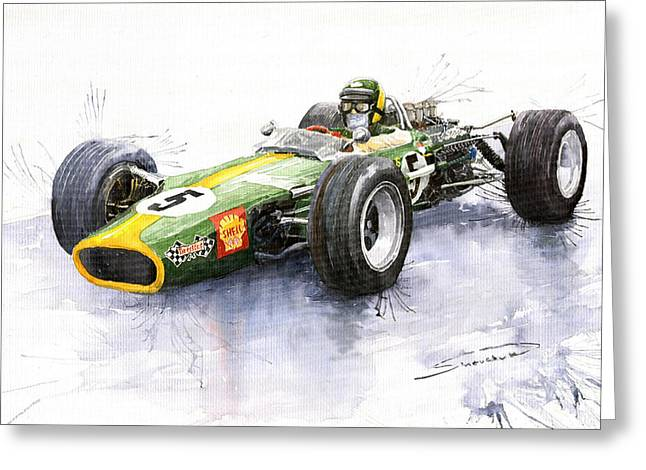 Auto Racing Greeting Cards - Lotus 49 Ford F1 Jim Clark Greeting Card by Yuriy  Shevchuk