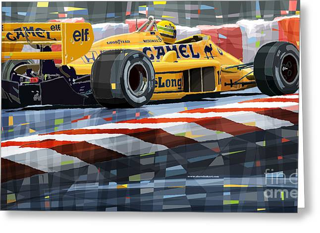Classic Lotus Greeting Cards - Lotus 99T 1987 Ayrton Senna Greeting Card by Yuriy  Shevchuk