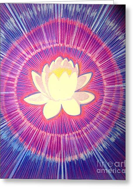 Faa Exclusive Greeting Cards - Lotus Aura Greeting Card by Shasta Eone